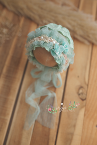 Baby girl newborn vintage style bonnet, frilly, mint green, bow, lace, RTS