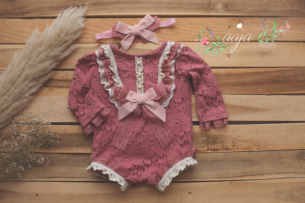 9-12 months size romper and headband set, frilly, vintage style, rose, pink mauve, RTS