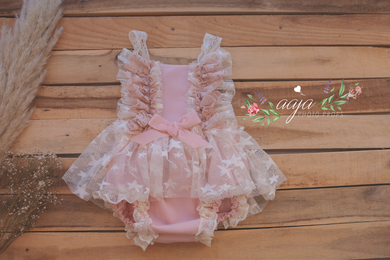 12-18 months size romper, blush Pink, cream, tulle, lace, frilly,  Pre order