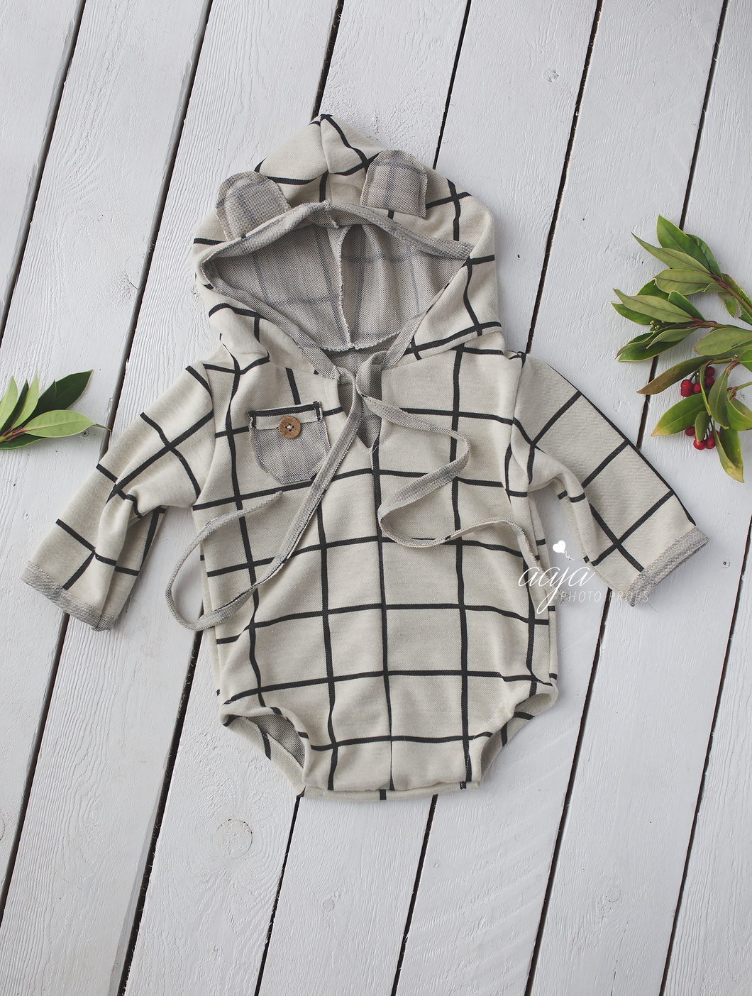 Baby hooded bear romper, 6-12 months size, cream neutral, checked, pre order