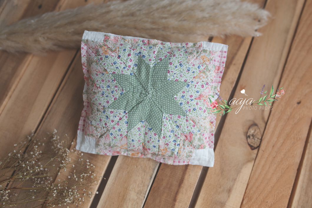 Newborn Posing pillow, green, pink, quilt, flowers, Ready to send