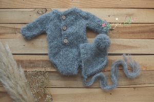 Baby newborn knitted romper and bonnet set, grey, RTS