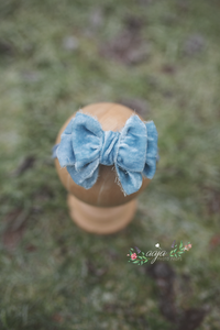 Baby newborn girl velvet bow tieback, blue, plush, soft, big RTS