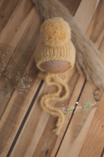 Baby newborn knitted footed romper and hat, soft yellow, pom pom, Pre order