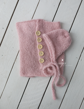 Baby newborn swaddle wrap and bonnet set, soft, knitted, buttons, Made to order