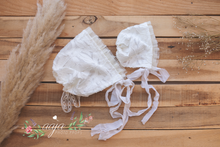 Baby 6-12 months size  or newborn lace bonnet, Off white, frilly tulle,  RTS
