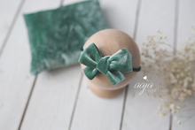 Newborn Posing pillow and tieback, green, teal, pink, blue, beige, velvet,  Pre order