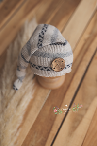 Baby newborn sleepy hat, knot, blue, cream, boho, stripe, button, RTS