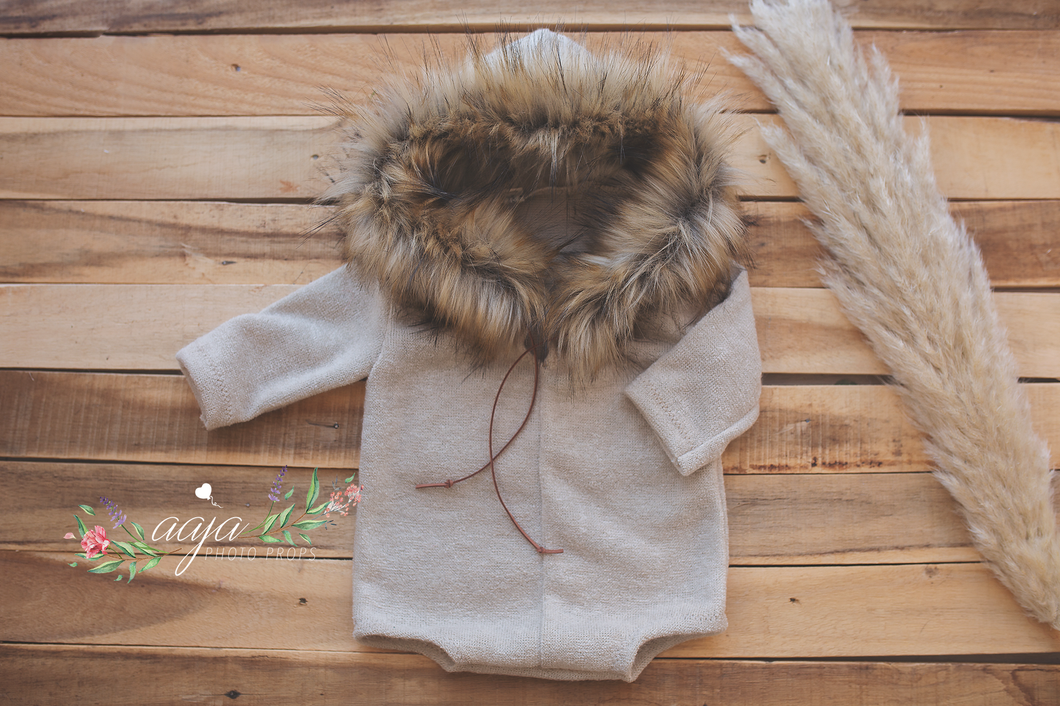 Baby 9-12 months sitter romper, neutral, faux fur, hooded, eskimo, brown stone, Pre order