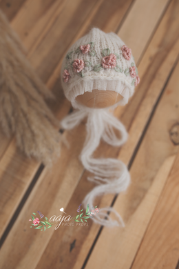 Knitted Baby newborn girl bonnet, hat, cream, blush, Embroidered, pre order