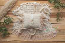Vintage lace layer, pillow, tieback set, cream, Boho, frills, tassels, Photo prop, RTS