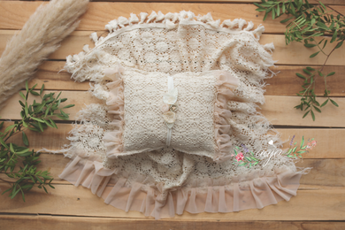 Vintage lace layer, pillow, tieback set, cream, Boho, frills, tassels, Photo prop, Pre order