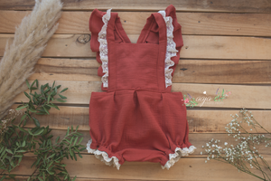 2-3 years size romper, frilly, vintage style, lace, rust, burnt orange, Pre order