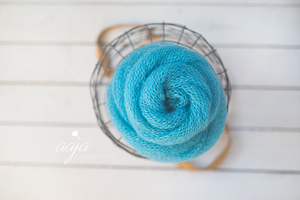Extra Long, blue loose knit wrap, Mohair, layer, newborn, ready to send