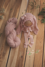 Baby newborn bunny bonnet with velvet ties and wrap set, nude, blush pink, pre order