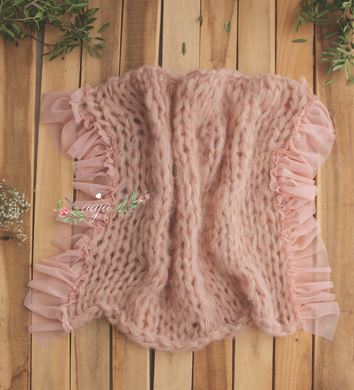 Knitted chunky layer, fluffy soft, pastel peach, frilly edges, Photo prop, RTS