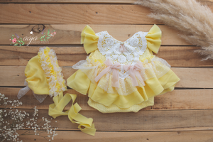 Baby newborn girl lemon yellow bonnet and romper, vintage style, lace, RTS