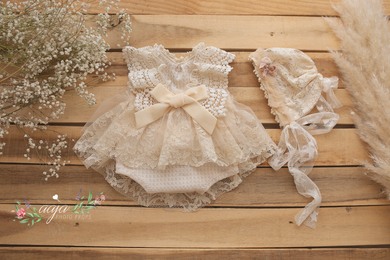 Baby newborn girl beige cream lace bonnet and romper, vintage style, boho,  pre order