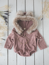 Baby 9-12 or newborn size sitter bear romper, fur hood, cream, green