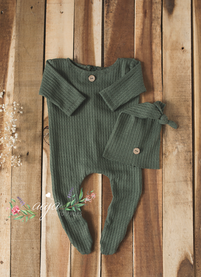 Baby Newborn pyjama romper and hat set, Green, buttons, footed, pre order