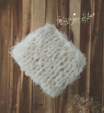 Knitted chunky layer, fluffy soft, off white Photo prop, Pre order