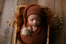 Rust brown, burnt orange, knitted long wrap and hat set, newborn, fur pom pom, beads, RTS