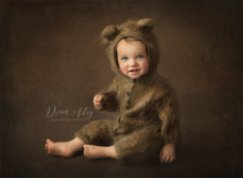 Knitted Baby bear costume, romper, toddler, 6-12 months, brown, fluffy, MADE TO ORDER