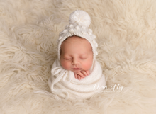 Knitted Baby newborn  wrap, White, grey, long, Pre order
