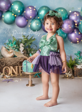 Baby 9-12 months size romper, headband set, tulle, purple, teal, sequin, mermaid, Pre order