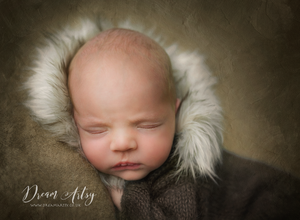 Dark green, cream, brown knitted newborn romper, fur hood, winter, made to order (1-2 weeks)