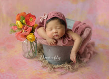 Dusty pink knitted Newborn wrap and bonnet set, Baby girl, Vibrant, Photo prop