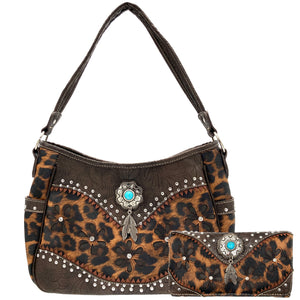 Leopard Animal Print Concealed Carry Feather Concho Country Vintage Western Handbag Hobo Purse Wallet Set