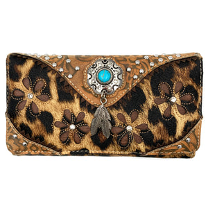 Leopard Animal Print Feather Concho Country Vintage Western Trifold Wallet