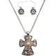 Hammered Plate Cross 12 Gauge Shotgun Shell Rhinestone Chain Necklace with Matching Earrings