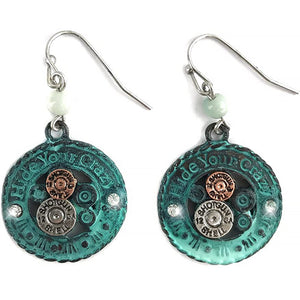 Hammered Plate Rope HIDE YOUR CRAZY Shotgun Shell Pendant Earrings