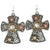 Hammered Plate Rope Cross 12 Gauge Shotgun Shell Pendant Earrings