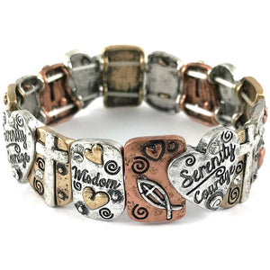 Western Serenity Courage Wisdom Prayer Bible Heart Cross Stretch Bracelet