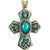 Western Tooled Turquoise Rhinestone Cross Magnetic Closure Pendant