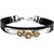 Silver Hammered Plate Gold Rhinestone Studded Shotgun Shell Leather Adjustable Bracelet
