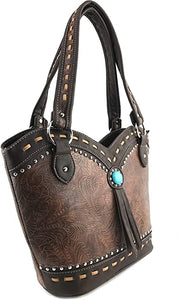 Dixie Turquoise Concho Fringe Floral Tooled Tote Purse