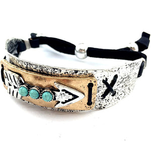 Western Tritone Hammered Plate Arrow Turquoise Leather Cuff Bracelet
