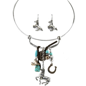 Tritone Hammered Horse Charms Turquoise Pendant Choker Matching Earrings