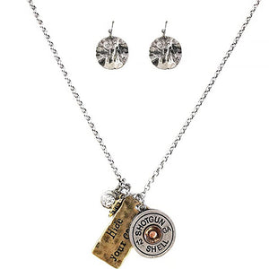 Hammered Plate Hide Your Crazy 12 Gauge Shotgun Shell Charms Chain Necklace with Matching Earrings