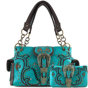 Patina Girl Western Buckle Handbag Wallet Set