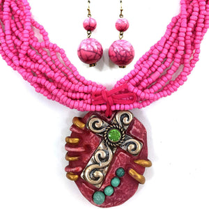 Seed Bead Chunky Leather Fringe Tied Round Stone Textured Cross Pendant Necklace with Earrings
