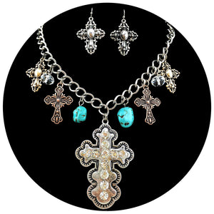 Western Tritone Rhinestone Cross Charms Necklace with Earrings