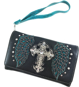 Plain Winged Rhinestone Cross Conceal Carry Trifold Wallet