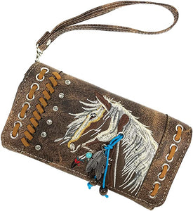 Dakota Horse Mane Embroidery Feather Tote Purse Wallet Set