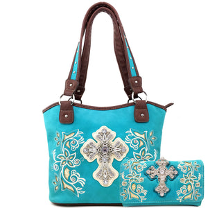 Floral Bloom Embroidery Concho Tote Purse Wallet