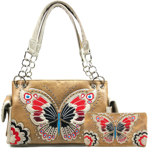 Peacock Butterfly Floral Embroidery Handbag Wallet Set